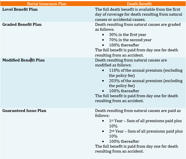 types of burial insurance