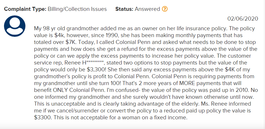 colonial penn complaint