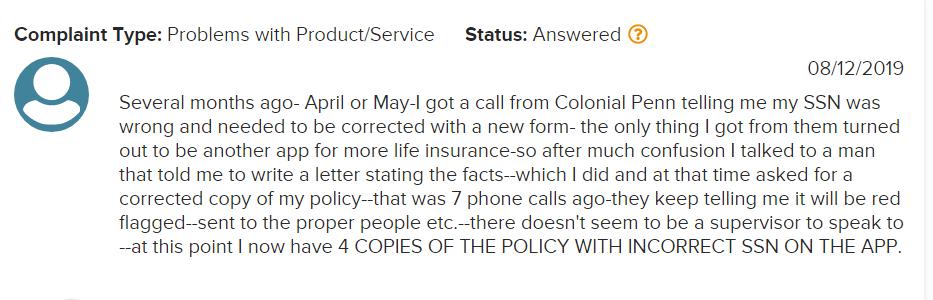 colonial penn complaing